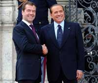 Медведев в гостях у Берлускони