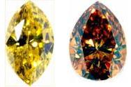 Красивые цветные алмазы на дисплее